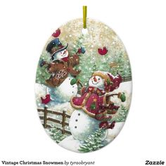Vintage Christmas Snowmen Ceramic Ornament