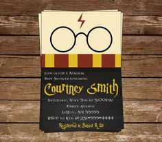 Harry Potter Inspired Baby Shower Invitation, Harry Potter Inspired Shower, Harry Potter Inspired In Baby Harry Potter, Harry Potter Thema, Harry Potter Glasses, Harry Potter Baby Shower, Baby Shower Invitations, Birthday Invitations, Harry Potter Invitations, Harry Potter Birthday Invitation, Anniversaire Harry Potter