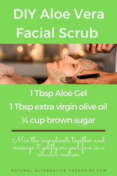 A simple and effective Aloe Vera facial scrub recipe. The brown sugar will exfoliate the dead skin and allow the oil and Aloe's healing nutrients to penetrate your skin. See the post to find 5 more Aloe Vera beauty recipes!