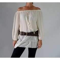 Classic Chemise Pirate Renaissance Festival Costume Peasant Blouse... ($33) ❤ liked on Polyvore featuring tops, blouses, grey, women's clothing, peasant blouse, long blouse, pirate shirt, off shoulder blouse and cotton shirts