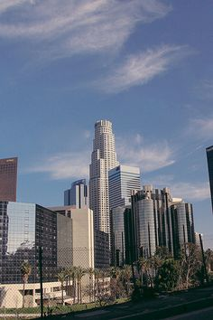 Downtown Los Angeles skyscrapers.