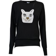 Loewe Wool Jumper With Cat ($530) ❤ liked on Polyvore featuring tops, sweaters, black, wool jumpers, loewe, cat top, wool tops and woolen jumper