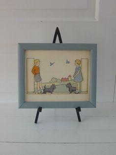 Children Print Art Boy Girl Bird Dog Scottie Terrier. $16.00, via Etsy.