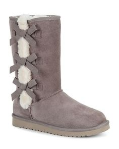 Flirty bows take center stage on the Victoria Tall, crafted from soft suede and lined in luxe sheepskin and faux fur that spills from the seams. The ultimate outfit-maker, this calf-height stunner is grounded in a cushioning sockliner and durable EVA sole equipped for all-day wearability. | Koolaburra By UGG - Women's Victoria Tall Boots in Cinder, Size 11 Fur Lined Boots, Faux Fur Boots, Tall Boots, Bow Boots, Cute Boots, Cowgirl Boots, Cute Uggs, Ugg Boots Cheap, Stylish Boots