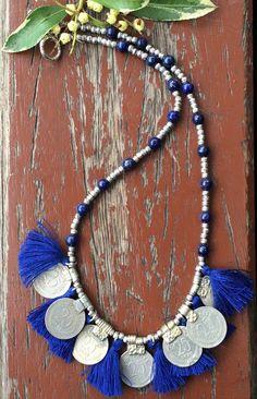 Kuchi coins and lapis lazuli necklace Kuchi by Littlewomenbusiness, €42.25