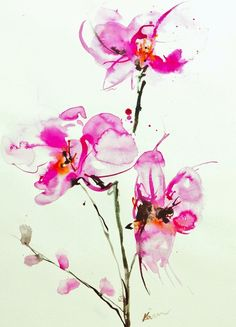 """Saatchi Online Artist: Karin Johannesson; Watercolor, 2011, Painting """"Orchids 1"""""""