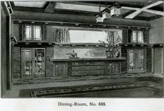 Arts and Crafts Dining Room Interior - 1910    Arts and Crafts Style dining room built in buffet and cabinetry. Nice Mission style chandelier. From Henry L. Wilson - Bungalow Book - 1910. Bungalow Dining Room, Craftsman Dining Room, Craftsman Interior, Interior Exterior, Craftsman Style, Room Interior, Dining Rooms, Built In Buffet, American Craftsman