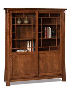 Amish Modesto Mission Bookcase with Doors Soft close sliding doors add a unique feature to the Modesto. Shelves are adjustable to accommodate oversize books. You can choose no doors if you wish for a traditional style open bookcase.