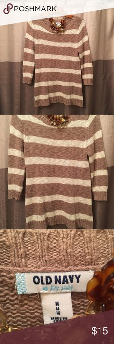 Old Navy • Stripe Knit Sweater ✨Take 30%off when you bundle 2+✨.                               Selling one of my favorite knit tops. Perfect for spring. Layer or wear alone. In great condition. No holes or stains. Smoke free home. Please let me know if you have any questions. See other listings for 2 other colors! Old Navy Sweaters Crew & Scoop Necks