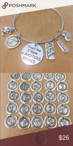 Gift for a new masters degree charm bracelet Silver plated. Bracelet is adjustable. Let me know your letters from A to Z. Trust me I have a master degree bracelet Jewelry Bracelets