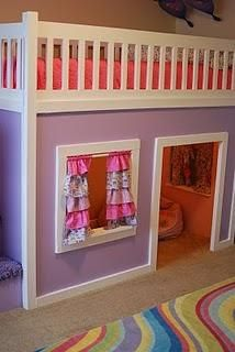 Playhouse Loft Bed with Stairs - i want to do this for the girls, as a connected corner unit, stairs on the front instead of side, and add shelves to the side. then there'd be one big connected playspace underneath the two beds :D