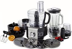 Andrew James Multifunctional Food Processor 800W With 2 Year Warranty - Over 10 Different Attachments Including Glass Blender, Citrus Juicer, Coffee and Nut Grinder, Electric Whisk, Small and Large Food Processor Bowls