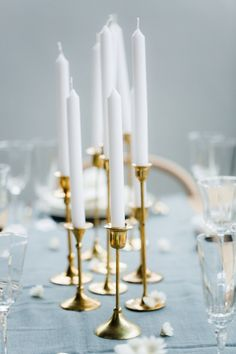 Engaged Part II: A Simple, Elegant Table // Styling by Avenue Lifestyle // Photography by Anouschka Rokebrand // Candlesticks and glassware by Helene Millot Furnishings // Table runner by Dille & Kamille