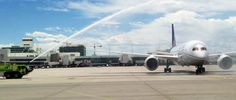 Cerimonial water cannon as Inaugural flight to Tokyo leaves Denver International Airport