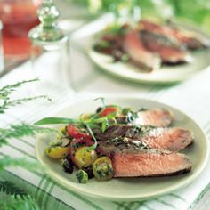 Herb-Crusted Flank Steak with Cherry Tomatoes and Olives