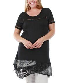 Love this Black & Gray Lace Asymmetrical-Hem Tunic - Plus on #zulily! #zulilyfinds