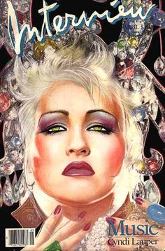 """cMag285 - Interview Magazine cover """"Cindy Lauper"""" by Richard Bernstein / April 1986"""