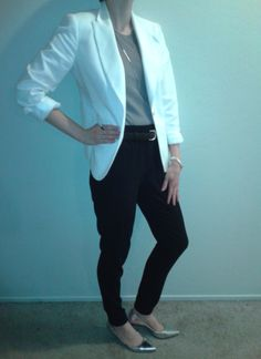 W8Oct14--White cotton sateen blazer (Talbots) over taupe sleeveless sweater (Ann) over black drapey pant (BR) with long silver tone necklace (Ann), silver buckle black snake print belt (Ann), mixed metal bracelet (BR), jade and silver ring, silver tone stacked rings (BR) and silver metallic pumps (BR).