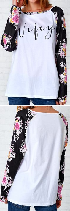 Only $21.99&Free Shipping! This floral print top is featured by its raglan sleeve&letter print. Get this basic babe' in at Cupshe.com