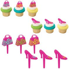 12 Pink Purse Shoes Cupcake Toppers Girls by Shoe Cupcakes, Girl Cupcakes, Unique Birthday Cakes, Birthday Cake Girls, Cupcake Picks, Cupcake Toppers, Cupcake Supplies, Baking Supplies, Party Supplies