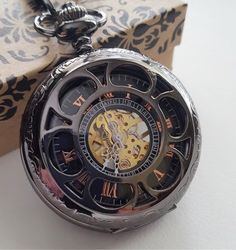 GUNMETAL BLACK MECHANICAL POCKET WATCH with Matching Chain  Available with or without Personalized Engraving  Engraving is done on the back