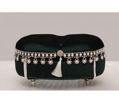 Bombe Düğmeli Yeşil Makyaj-Takı Jewellery Boxes, Jewelry Box, Fabric Covered Boxes, Book Holders, Pin Cushions, Decoration, Wedding Gifts, Basket, Velvet