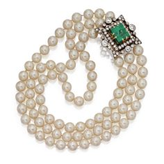 CULTURED PEARL NECKLACE WITH A SILVER-TOPPED GOLD, EMERALD AND DIAMOND CLASP The triple-strand necklace composed of cultured pearls measuring approximately 9.6 to 9.0 mm., the late 19th century brooch converted into a clasp set with an emerald-cut emerald measuring approximately 14.15 by 13.02 by 12.23 mm., framed by old mine diamonds weighing approximately 6.20 carats, length 13 inches