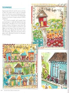 Art by Erin Leigh: Colorful Little Houses Mixed Media Collage Series