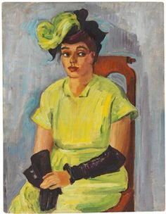 Bildnis Freda Wermel in gelbem Kostüm By Max Pechstein ,1946