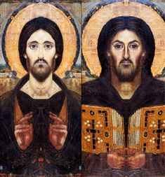 Icon of Christ Pantocrator of St. Catherine's Monastery at Sinai (mirrored composites), 6th century
