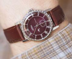 Dark burgundy wristwatch CORNAVIN men watch by SovietEra on Etsy