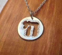 Silver Jewish Chai Hanging Disc Necklace with Rope Chain on Etsy, $25.00