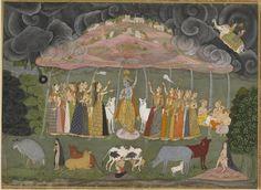 Works of Ustad Sahibdin --- Krishna lifts Mount Govardhan.