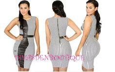 women's color block houndstooth body con dress with a faux leather panel  #leather #sexy #career #dayandnight #dresses #houston #onlineboutique #boutique #fashion #diva #divasdenboutique www.divasdenboutique.com