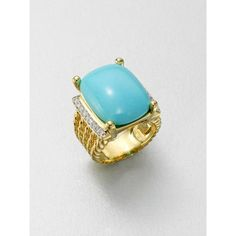 David Yurman Diamond Accented 18k Gold Turquoise Ring ($4,800) ❤ liked on Polyvore