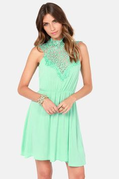 Great bridesmaid dress on Lulus.com $50. the back of the dress is really cute too. Daily Showdown Lace Mint Green Dress