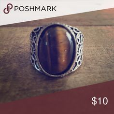 Silvertone Tigers Eye Statement Ring Size 8 New without tags Jewelry Rings