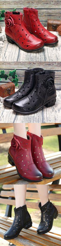 US$34.35 SOCOFY Handmade Flower Hollow Original Mid Heel Vintage Boots