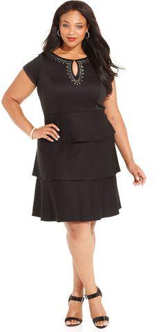 SL Fashions Plus Size Studded Tiered Dress