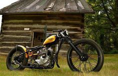 Who likes this glorious Triumph bobber? (The cabin is pretty damn cool, also) Triumph custom motorcycle Triumph Chopper, Bobber Bikes, Bobber Motorcycle, Bobber Chopper, Cool Motorcycles, Triumph Motorcycles, Vintage Motorcycles, Triumph T100, British Motorcycles