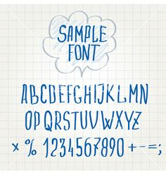 Hand font alphabet sketch vector by photovs on VectorStock®