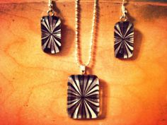 Black and Silver Starburst Necklace and Earring Set-https://www.facebook.com/NoondaySunCreations