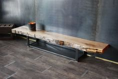 Tv stand / bench tv live edge wood industrial style custom-made Creation and Direction: MICHELI Desi Wood, Industrial Style, Tv Cabinets, Rustic Furniture, House Interior, Wood And Metal, Metal Furniture, Furniture Layout, Live Edge Furniture