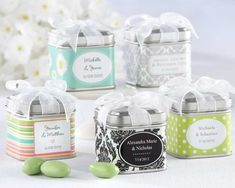 """""""Unexpected Treasures!"""" Favor Tin with Pre-Tied Organza Bow and 40 Designer Labels for Customization"""