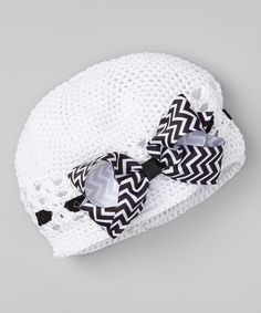 Take a look at this White Crocheted Beanie & Zigzag Bow Clip on zulily today!