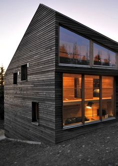 Dark wood siding + Glass Wall / Favorite Pins Right Now / AmandaTotoroDesign.com