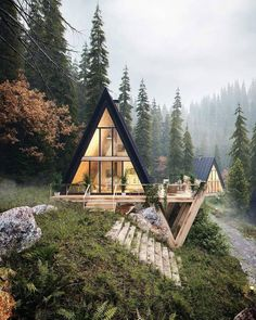 Stunning A-frame cabin with a sleek style. This ties together the best of modern architecture and cabin life against the most enchanting forest landscape. A Frame Cabin, A Frame House, Beautiful Homes, Beautiful Places, House Beautiful, Beautiful Interiors, Design Exterior, Diy Exterior, Exterior Stairs