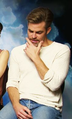 """somanygorgeousmen: """"""""Chris Pine being distracting in a Star Trek Beyond interview. [x] """" """""""