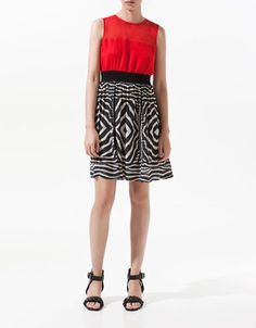 This would be cute for UGA fans  . . . DRESS WITH COMBINED TOP - Zara