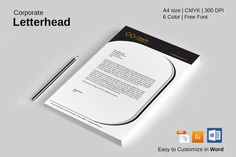 9 Modern, Clean and Professional Letterheads. also includes color variations for every letterhead. Each Letterhead included Illustrator, Word and EPS Flies. Wedding Brochure, Business Brochure, Business Card Logo, Free Design, Custom Design, Professional Letterhead, Stationery Templates, Design Templates
